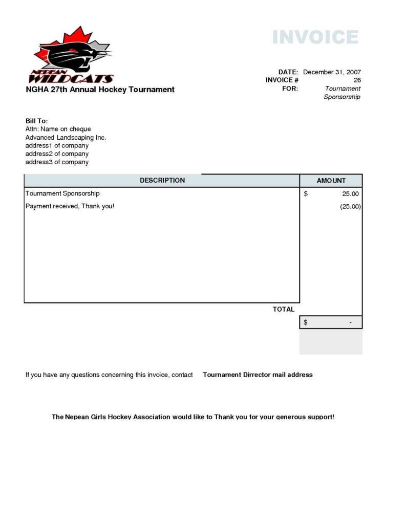Air Conditioning Invoice Template and Invoice Template Free Landscaping Rabitah