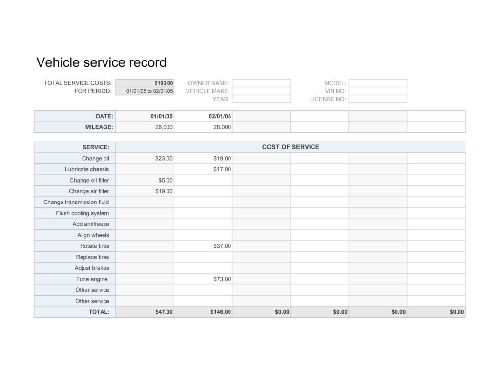 Auto Maintenance Spreadsheet and Vehicle Service Record Template