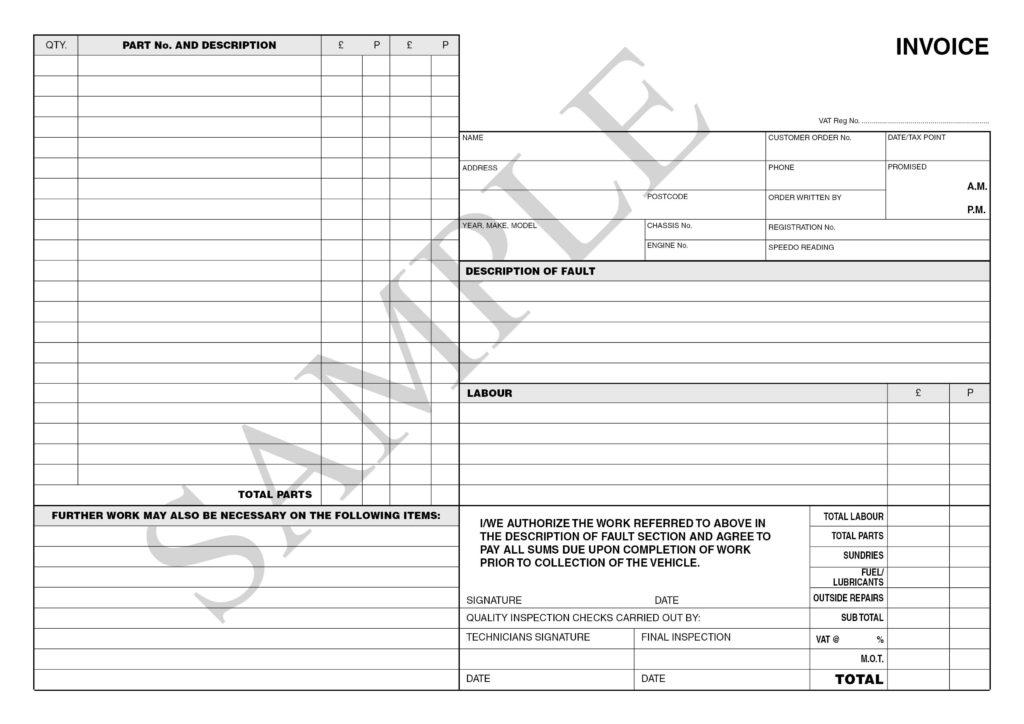 Auto Repair Invoice Sample and Garage Invoice Template Uk Rabitah