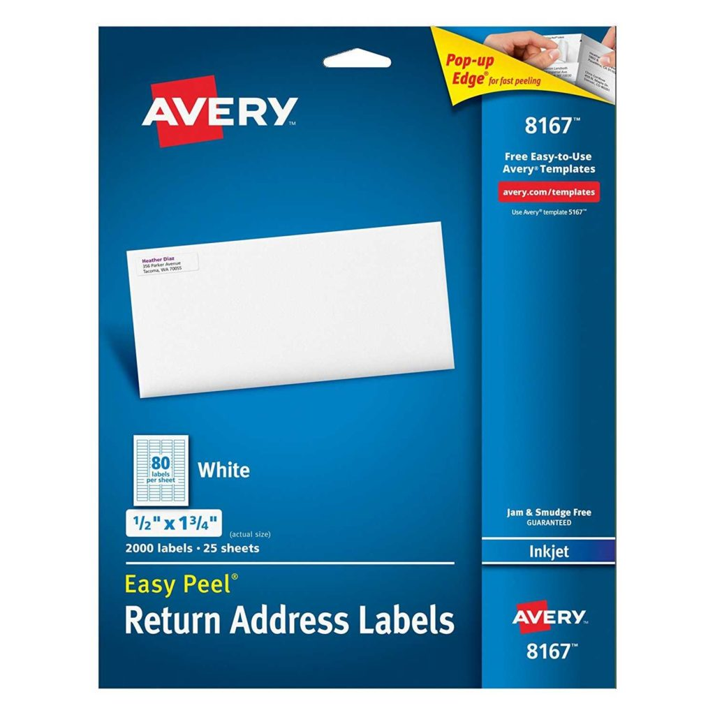 Avery Return Address Labels 80 Per Sheet Template and Avery Easy Peel Return Address Labels for Inkjet