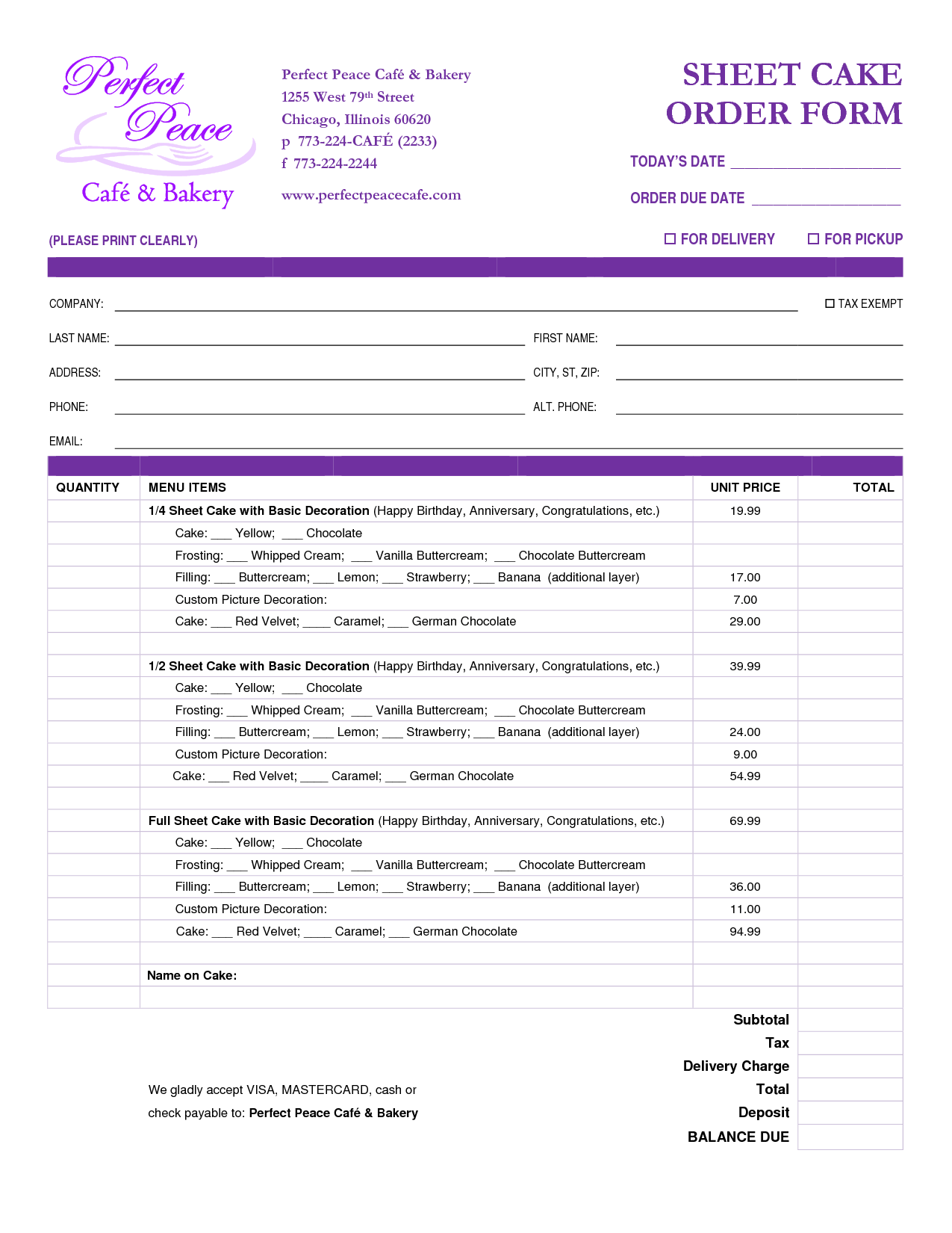 Bakery Invoice Template and Cake order form Template Free Google Search Projects