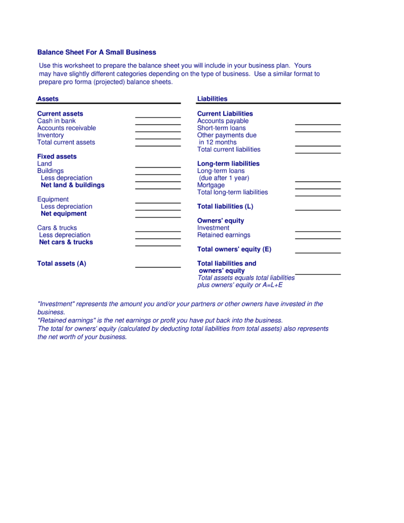 Balance Sheet Template for Small Business and å è Balance Sheet for Small Business