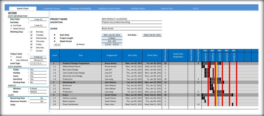 Best Free Excel Gantt Chart Template and Gantt Chart Template for Excel Excelindo