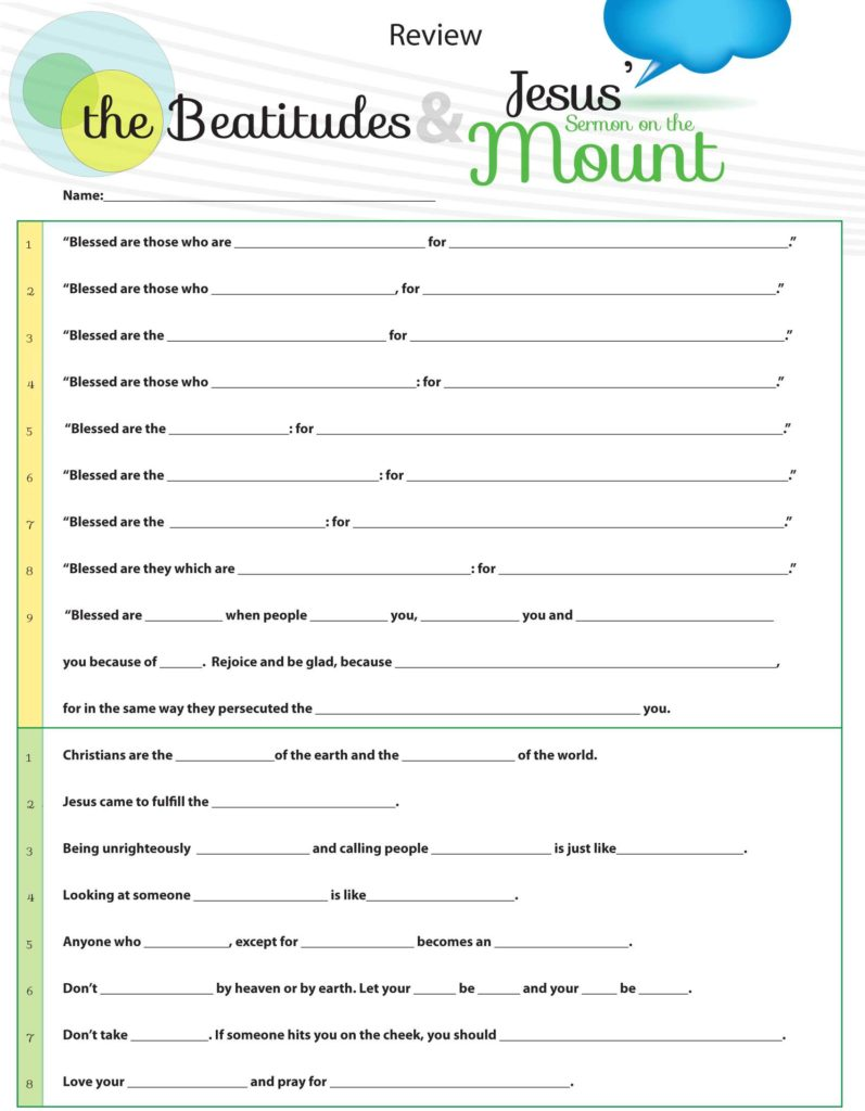 Bible Study Worksheets for Youth and 11 Beatitudes Activity Ideas Printable Worksheets From the