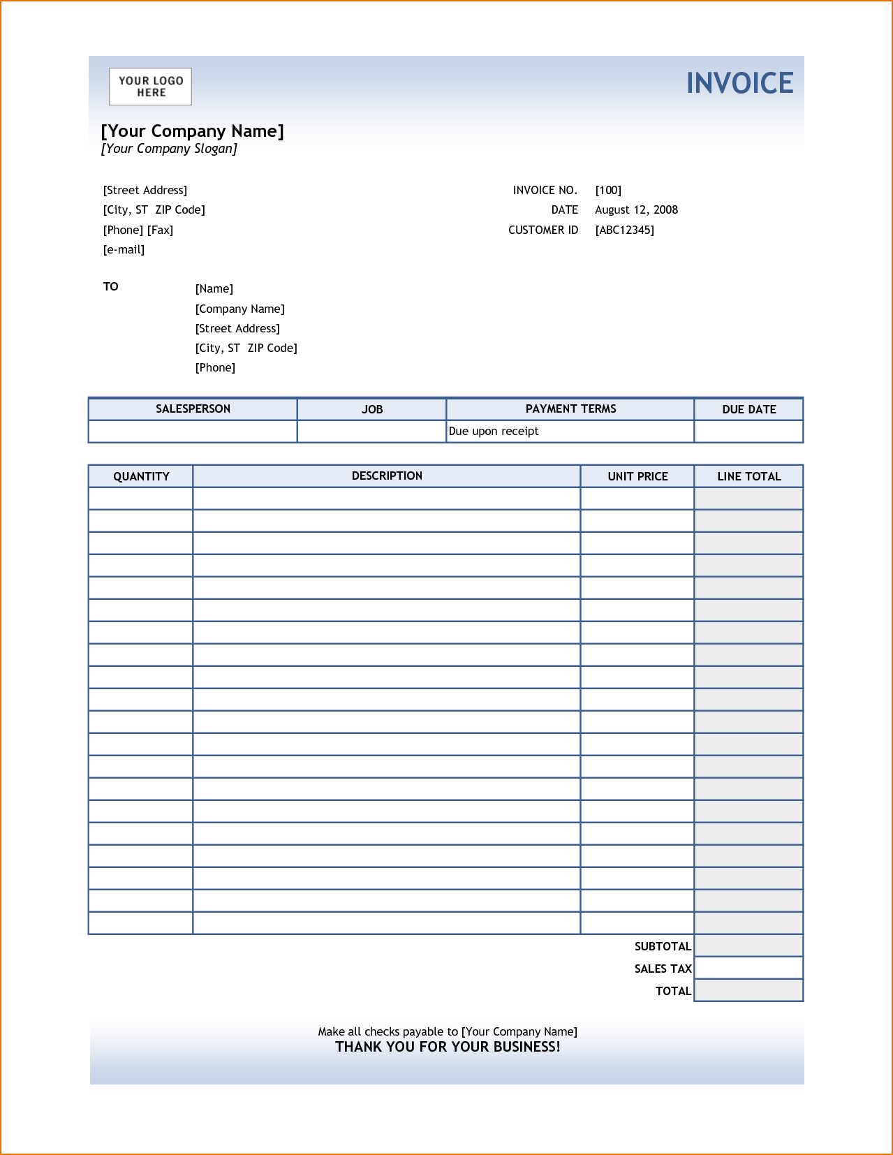 Bill for Services Rendered Template and 6 Sample Invoice for Services Printable Receipt