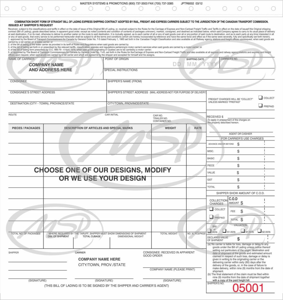 Bill Of Lading Template Canada and Bill Of Lading and Pro Bills Master Systems Promotions