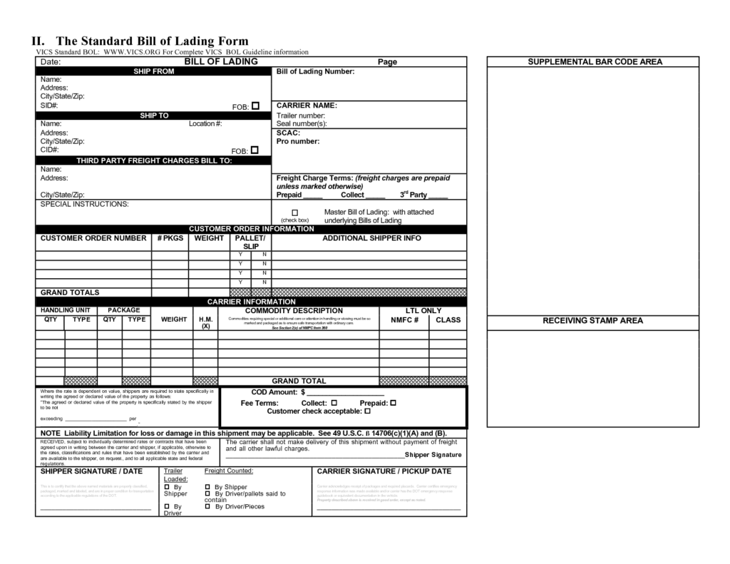Bill Of Lading Template Free Download and Bill Of Lading Template Example Masir
