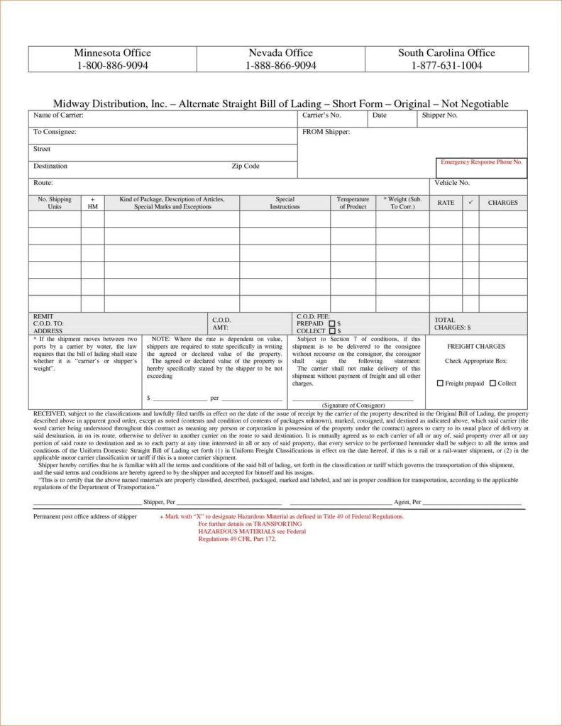 Bill Of Lading Template Free Download and Straight form Bill Of Lading Payment Coupon Books 2 Short