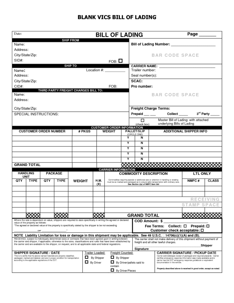 Bill Of Lading Terms and Conditions Template and Bill Of Lading Template Excel Selimtd