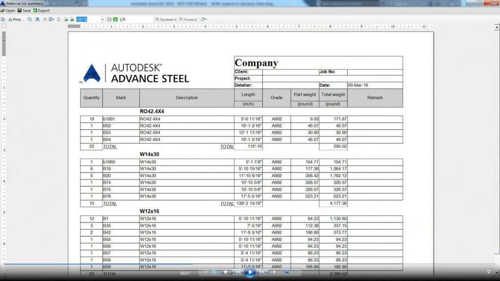 Bill Of Material Excel Template and Advance Steel Creating A Bom Opening It In Microsoft Excel