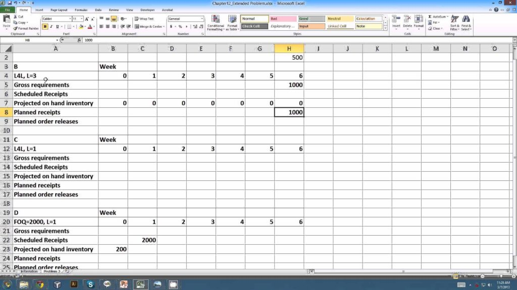 Bill Of Material Excel Template and Master Resource Planning Example Youtube