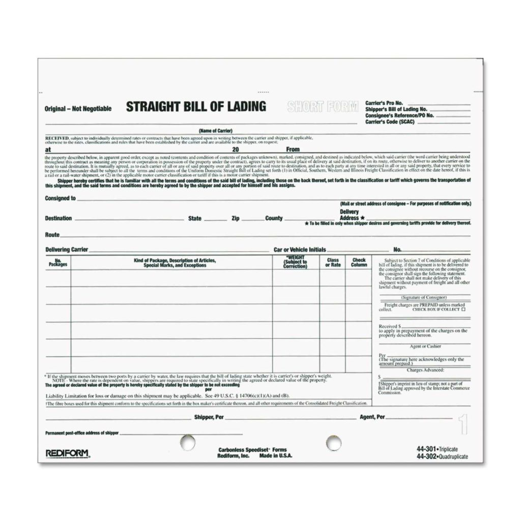 Bill Of Quantities Template and Bill Of Lading Short form by Rediform Red Ontimesupplies