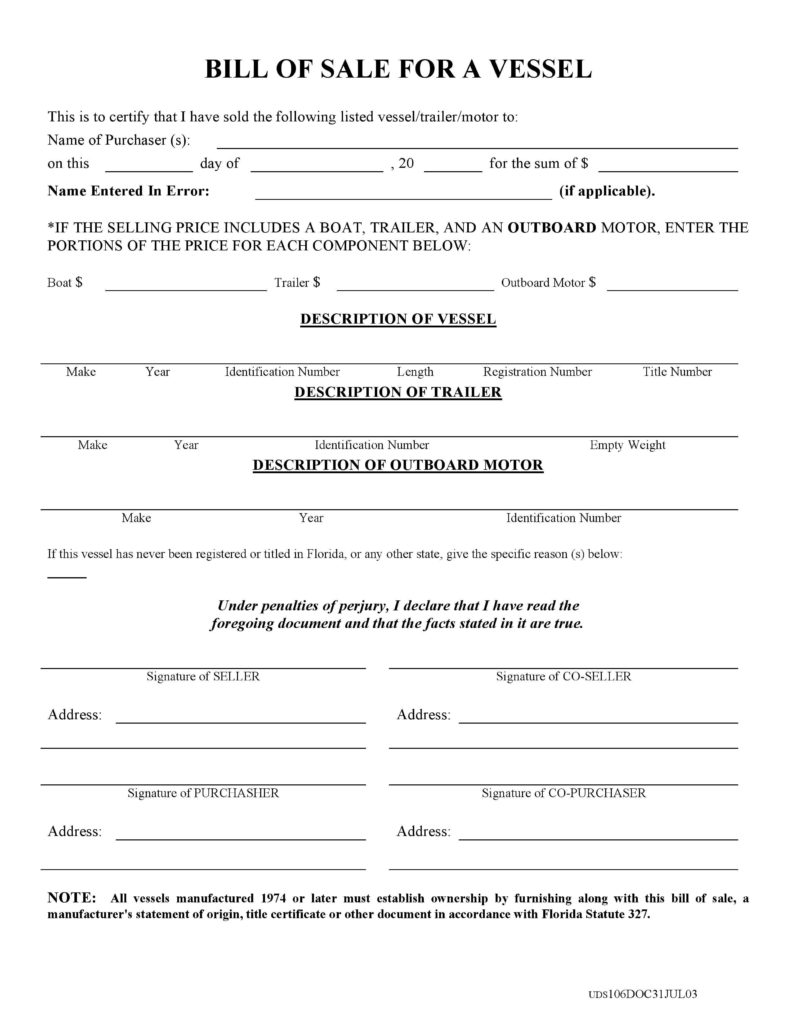 Bill Of Sale for Boat and Trailer Template and Free Florida Boat Bill Of Sale form Pdf Docx