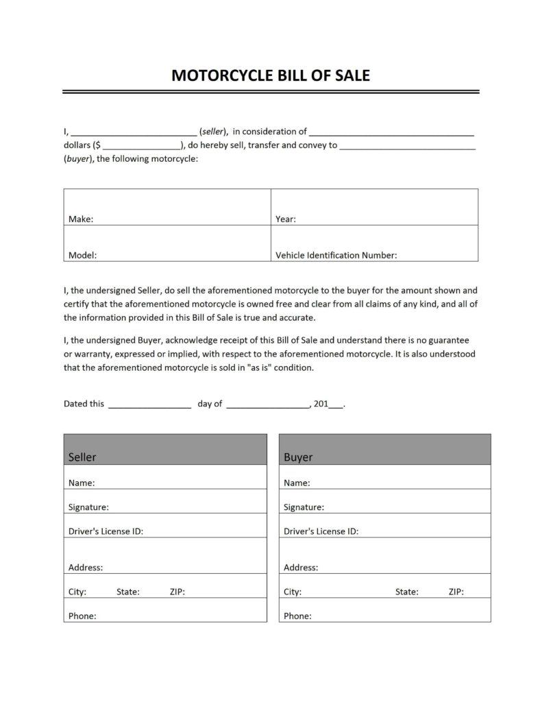 Bill Of Sale for Motorcycle Template and Motorcycle Bill Of Sale Freewordtemplates