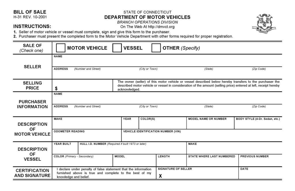 Bill Of Sale Template Dmv and Free Connecticut Dmv Bill Of Sale form Pdf Docx
