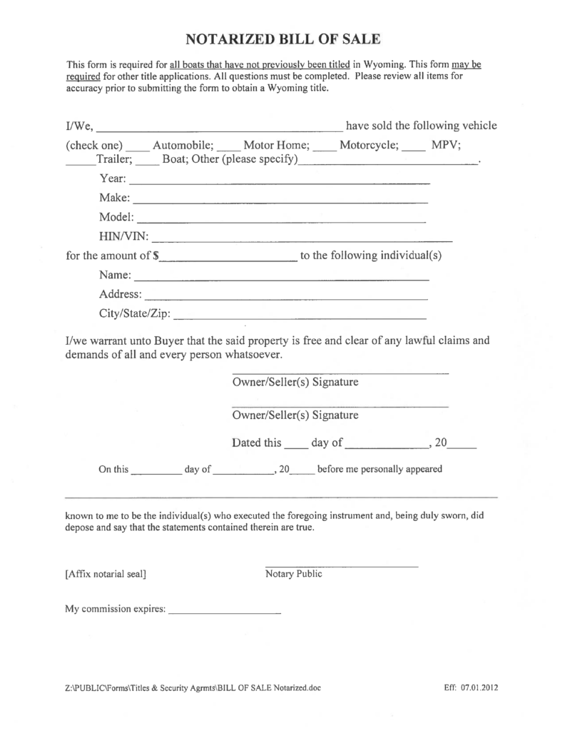 Bill Of Sale Template for A Boat and Notarized Boat Bill Of Sale form Wyoming Free