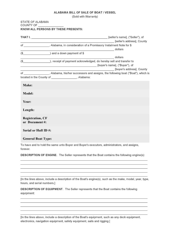 Bill Of Sale Template for Boat and Free Alabama Bill Of Sale Of Boat Vessel form Pdf