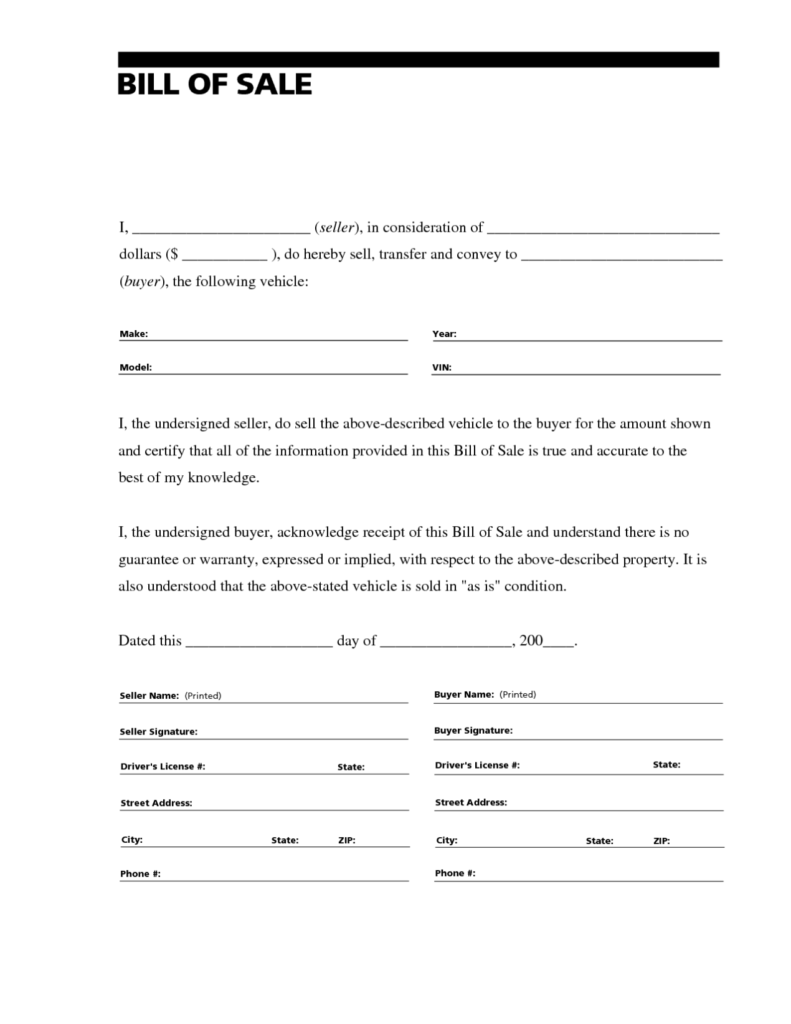 Bill Of Sale Template for Car Pdf and Bill Of Sale form Template Sample