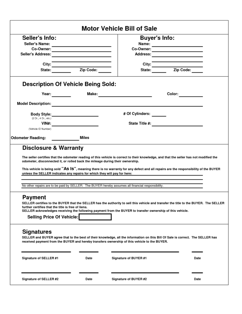 Bill Of Sale Template for Car Pdf and Printable Car Bill Of Sale Pdf Bill Of Sale for Motor Vehicle