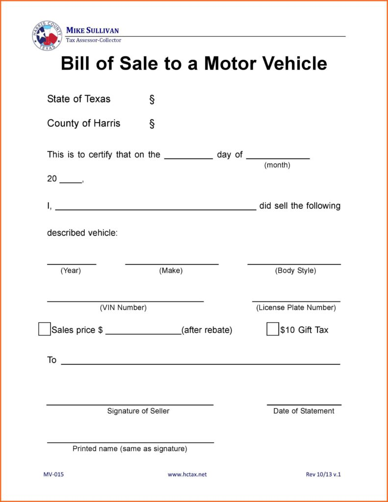 Bill Of Sale Template Texas and Bill Of Sale form Texas soap format