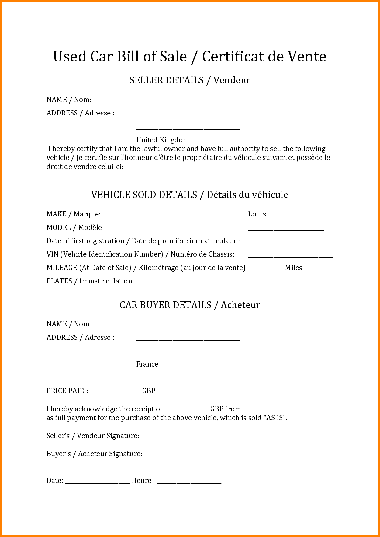 Bill Of Sale Used Car Template and 10 How to Write A Bill Template Simple Bill