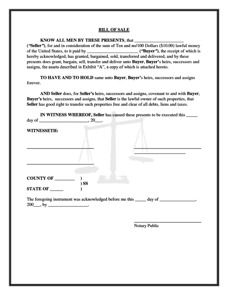 Bill Of Sale with Lien Template and Printable Bill Of Sale form Templates Calendar Template Letter