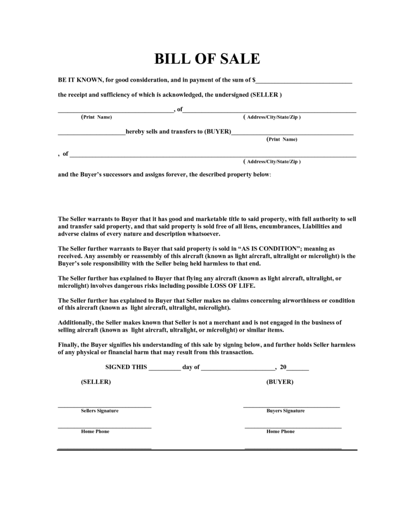 Bill Of Sell Sample and Bill Of Sale Template astrawell