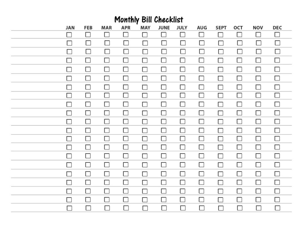 Bills organizer Template and Free Bill organizer Template Virtren