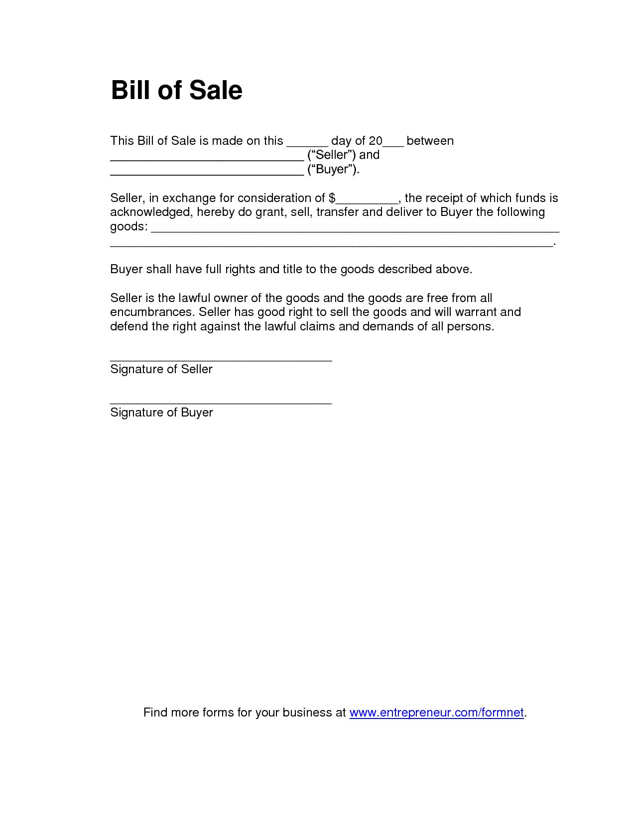 Blank Bill Of Sale Template and Printable Sample Tractor Bill Of Sale form Laywers Template
