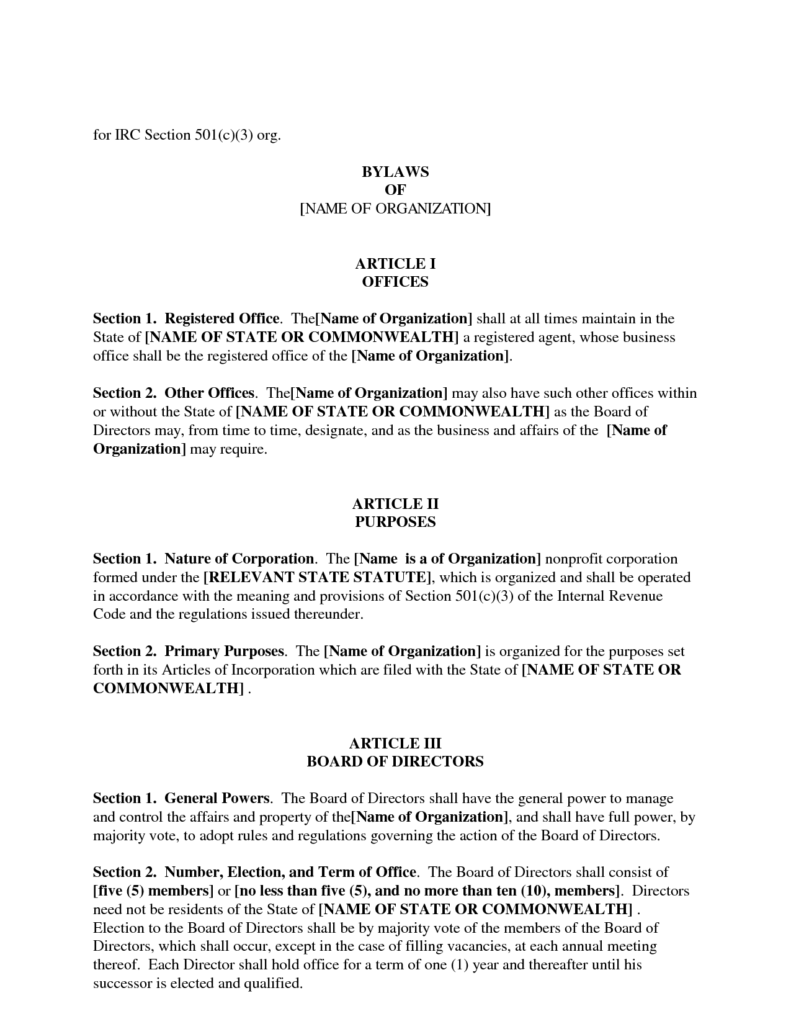 Business Bill Of Sale Template and Nonprofit bylaws Template Template Design