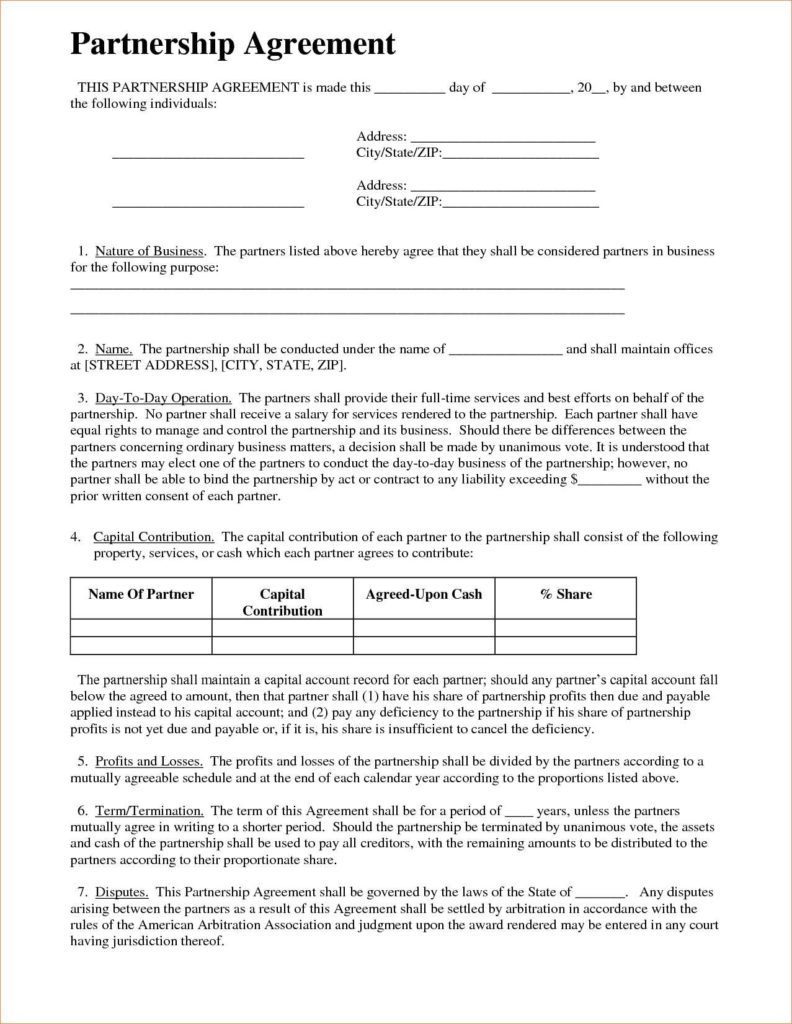 Business Term Sheet Example and Partnership Agreement Free Template Customizable form Templates