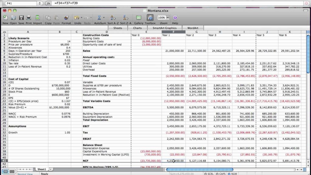 Business Valuation Spreadsheet and Business Valuation Free Cash Flow Method Youtube