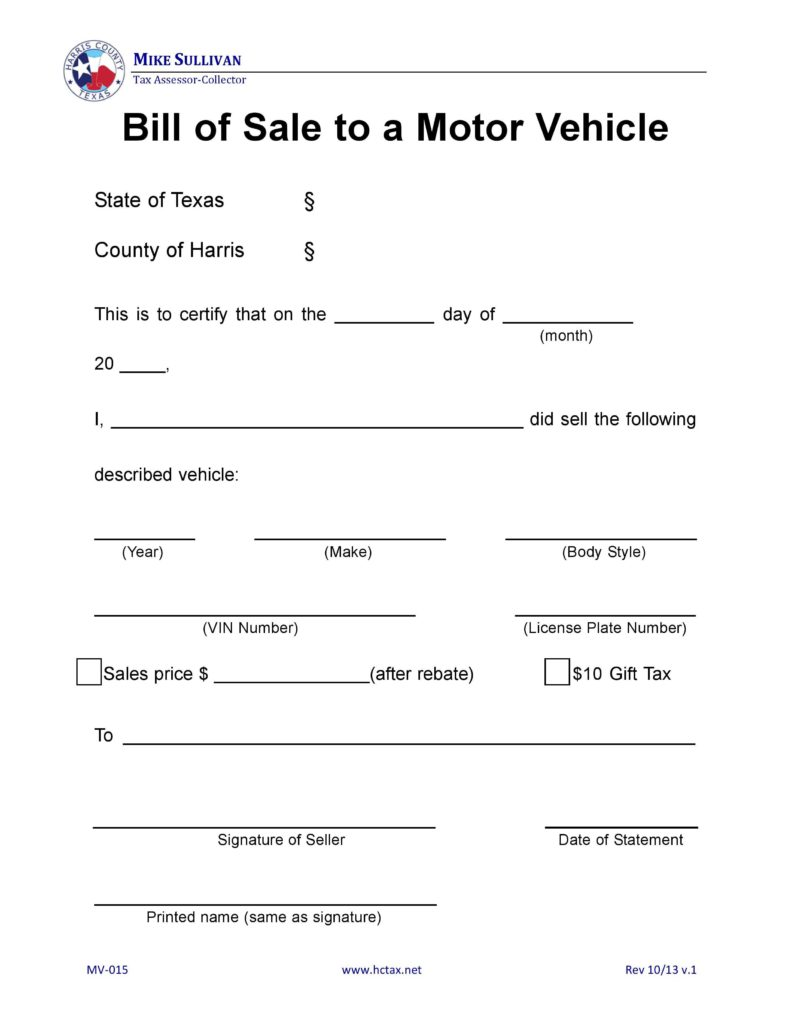 Car Bill Of Sale Word Template and Free Harris County Texas Motor Vehicle Bill Of Sale Mv 015