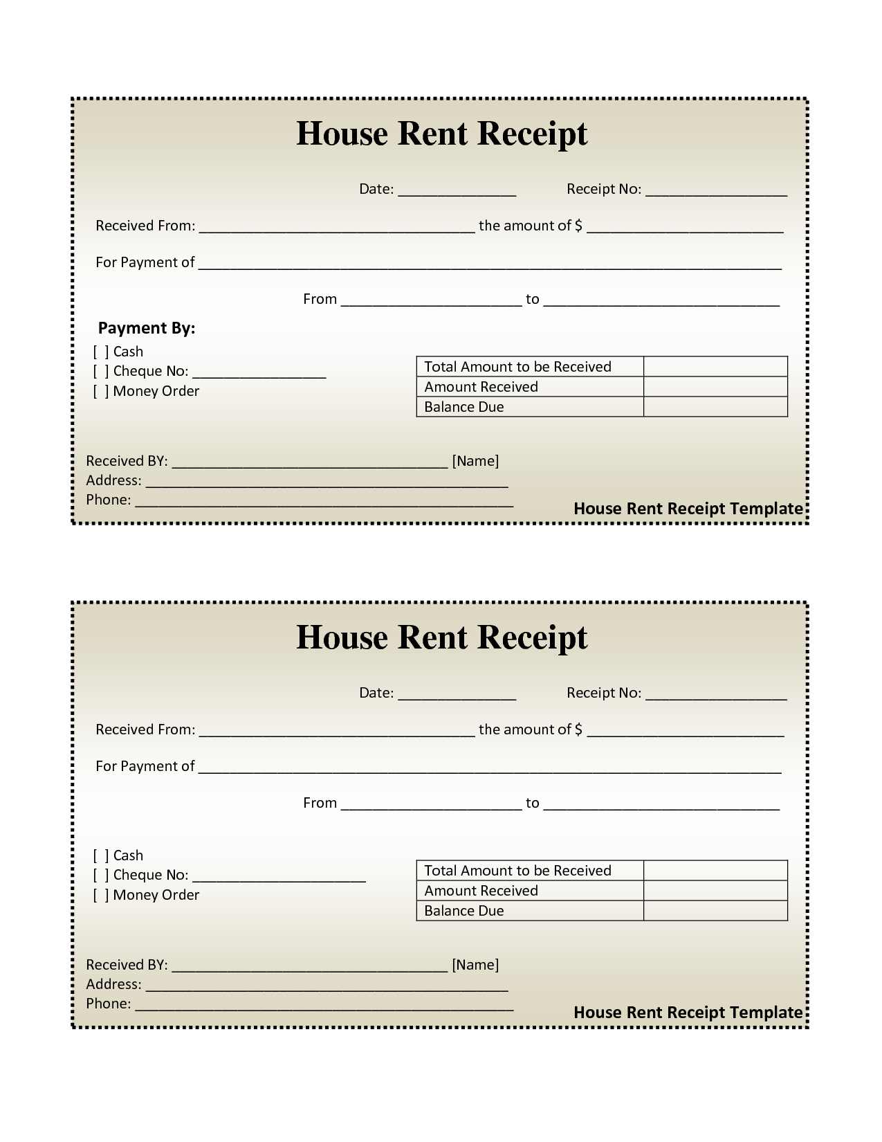 Cash Invoice Sample and Free House Rental Invoice House Rent Receipt Template Doc
