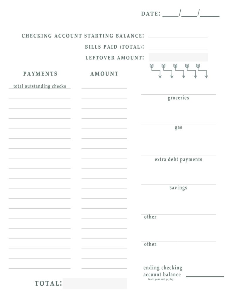 Checking Account Worksheets for Students and Bill Pay Worksheet Free Printable