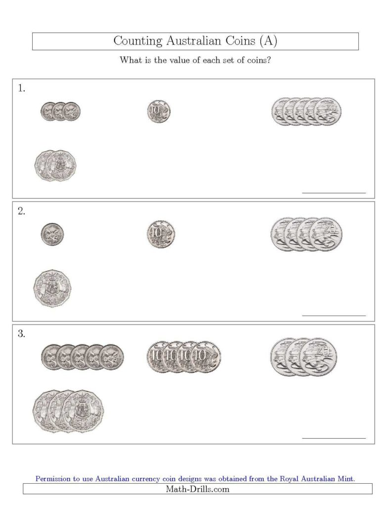 Coin Values Worksheet and Counting Small Collections Of Australian Coins No Dollar Coins