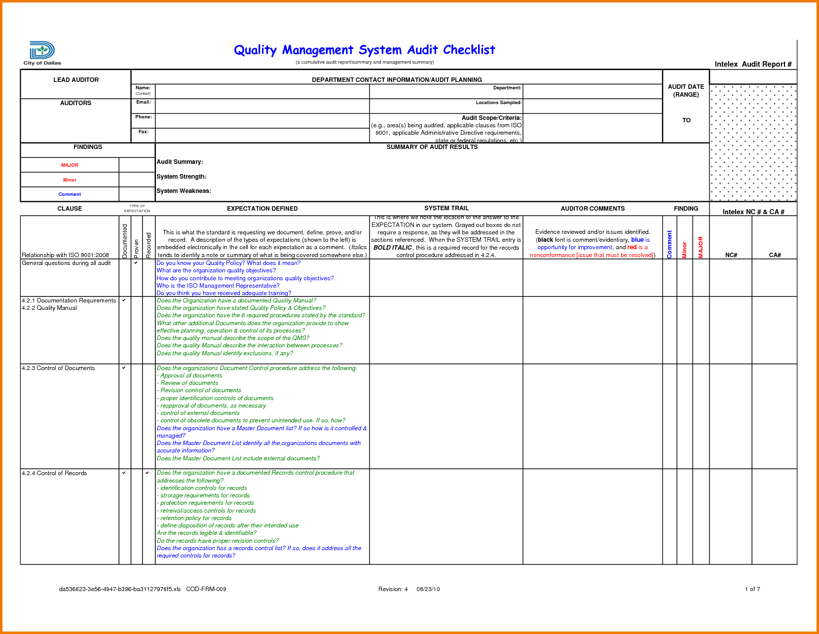 Compliance Audit Report Sample and Audit Findings Template Masir