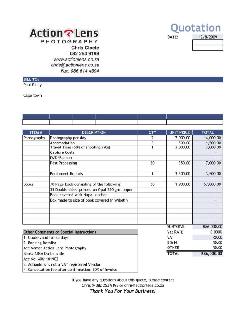 Construction Bill Template and Invoice Template for Contractors Rabitah