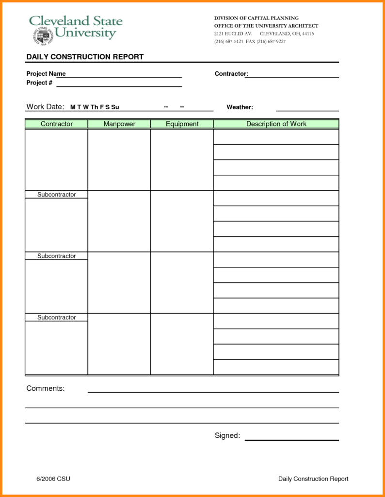 Construction Daily Report Sample and 9 Construction Daily Report Template Excel Driver Resume