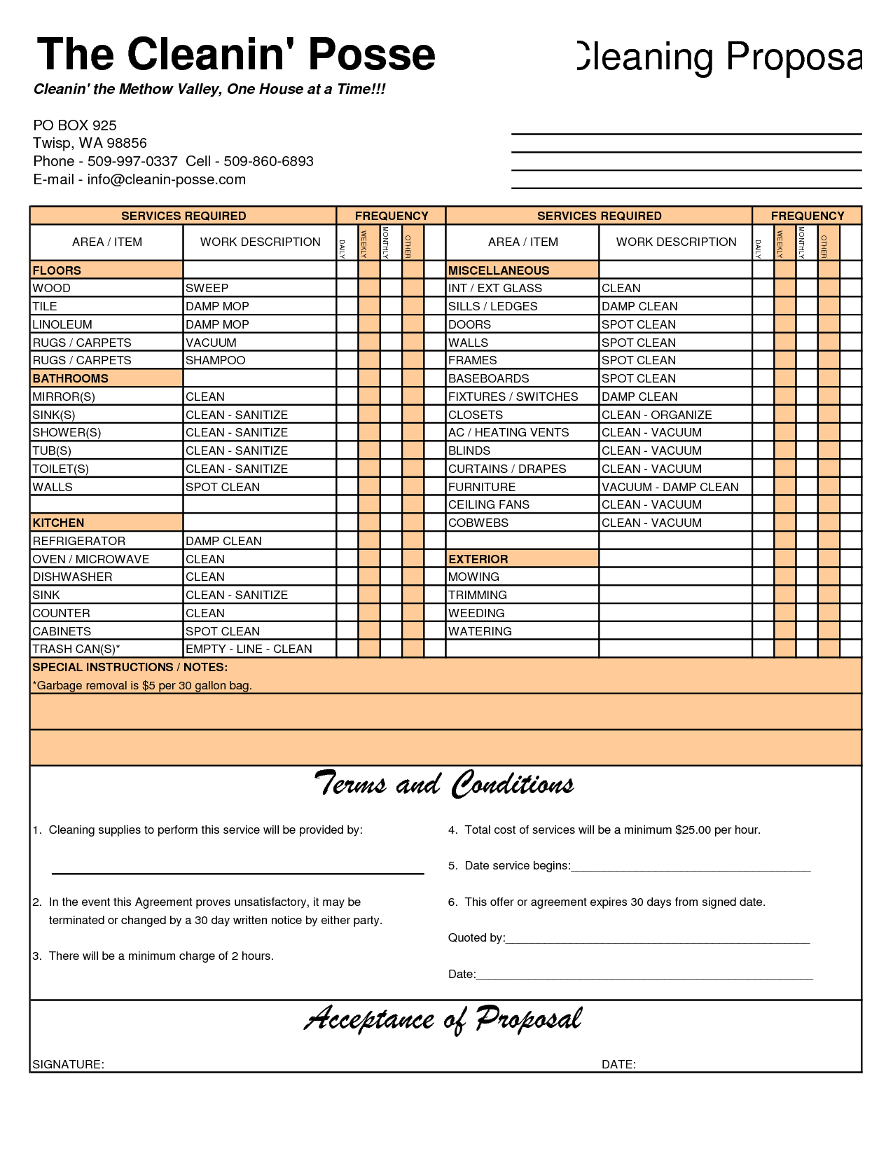 Construction Invoice Samples and Cleaning Invoice Template Free to Do List