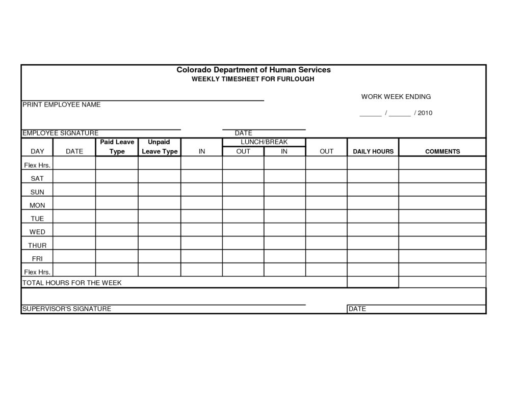 Construction Time Sheets Template and Free Printable Time Sheets forms Furlough Weekly Time Sheet