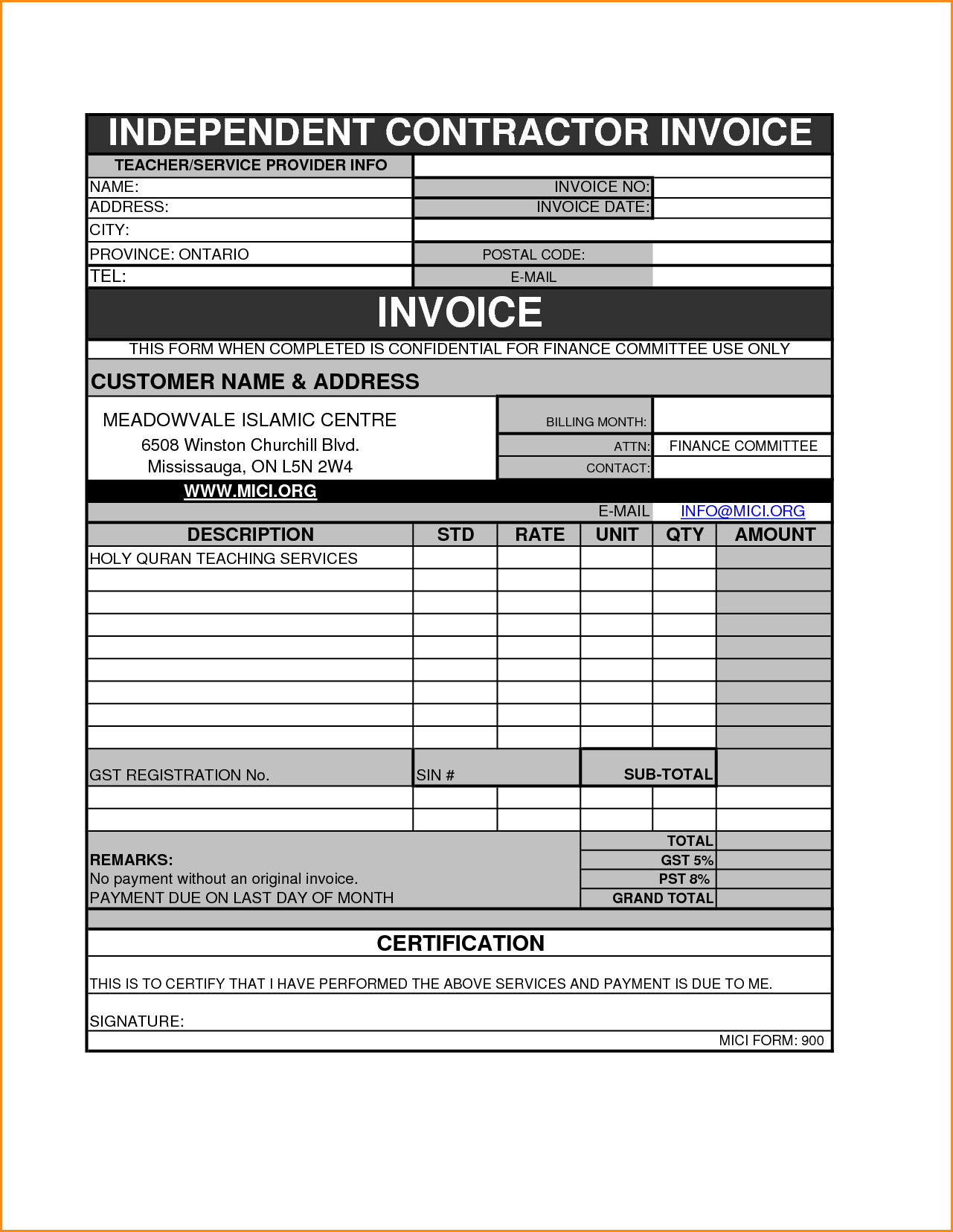 Consultant Invoice Template Free and Contractor Invoice Template Rabitah