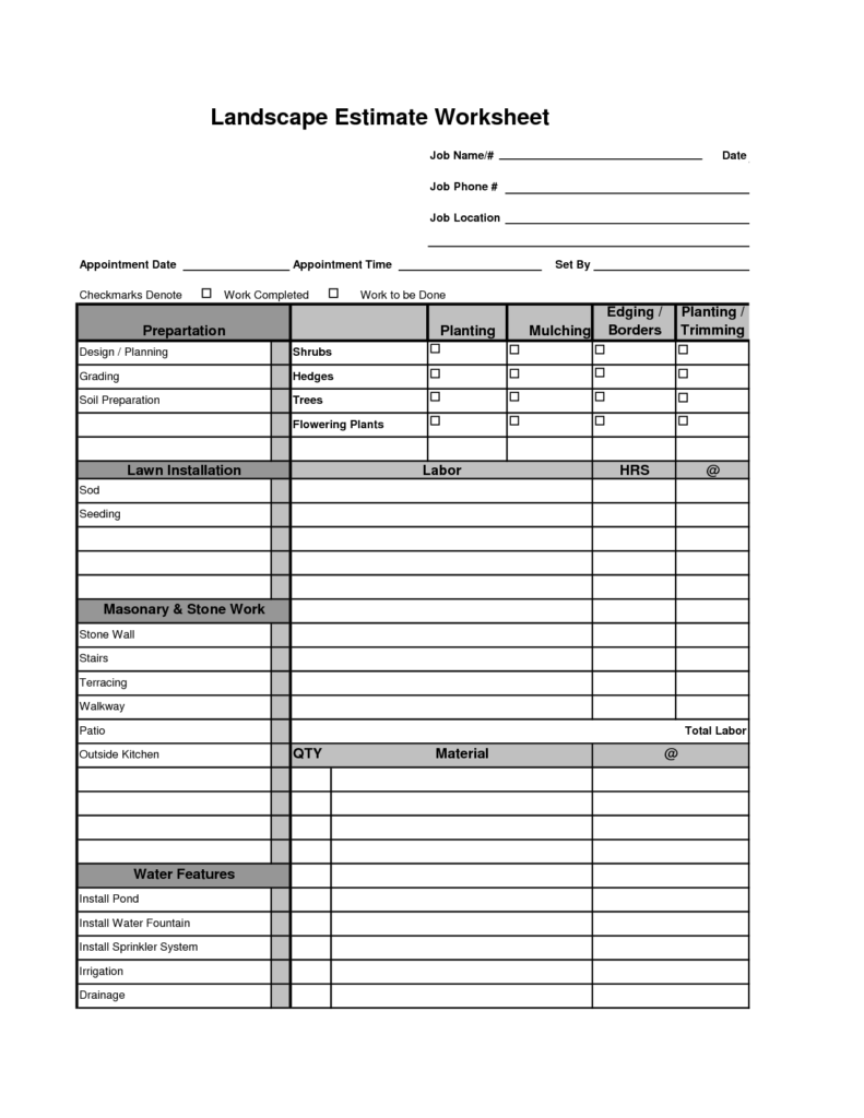Contract Management Spreadsheet and Printable Landscape Bid Templates Template for Landscape Bid
