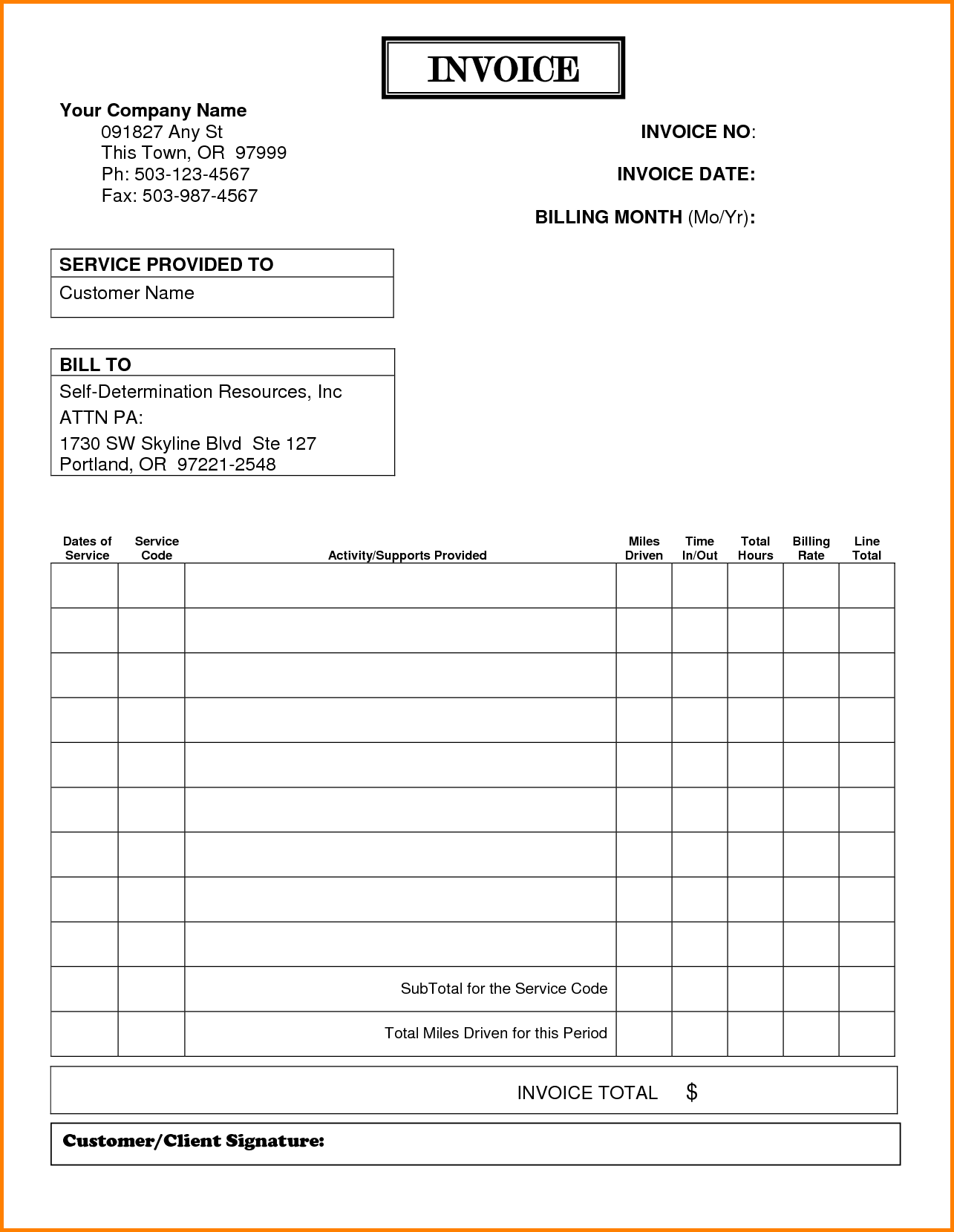 Contractor Billing Template and 7 Billing Invoices Templates Free Simple Bill