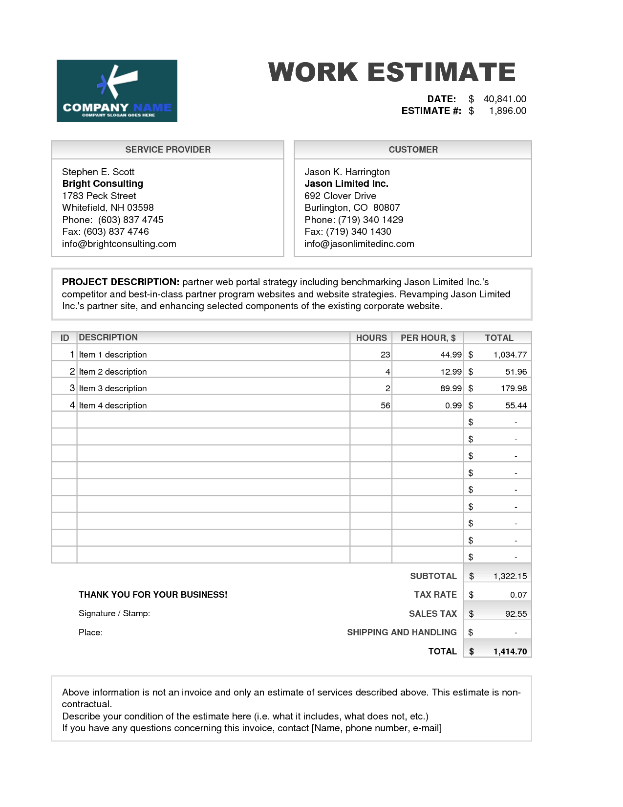 Contractor Estimate Template Excel and Invoice Quote Template Free Printable Invoice