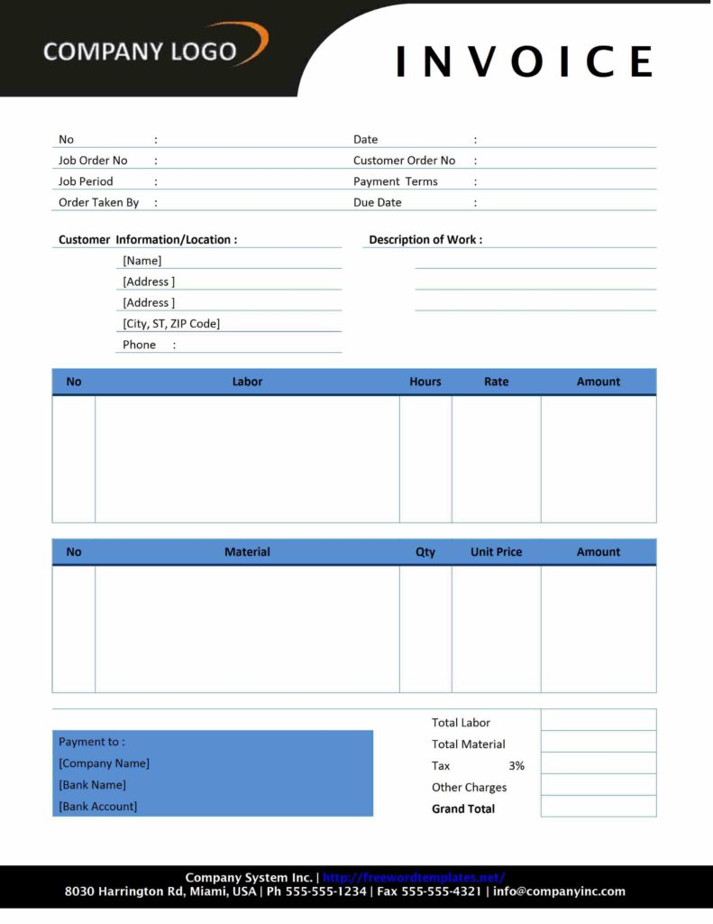 Contractor Invoice Template Pdf and Plumbing Invoice Template Word Invoice Example