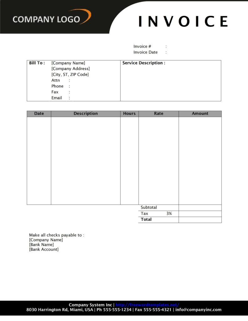 Contractor Invoices Templates and Professional Invoice Template Free Invoice Template