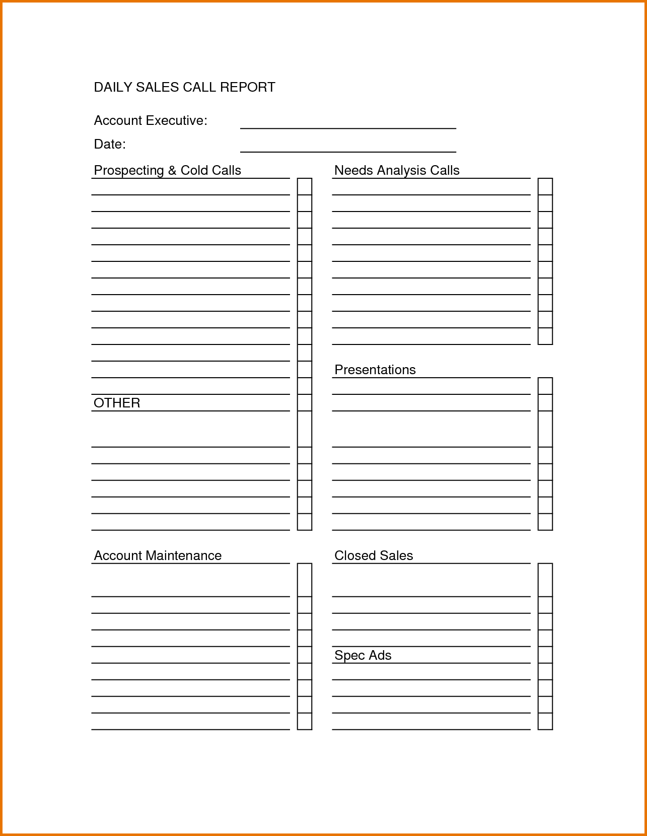 Daily Sales Report Template Excel and Sales Call Sheet Template Sales Call Report Sheet forms