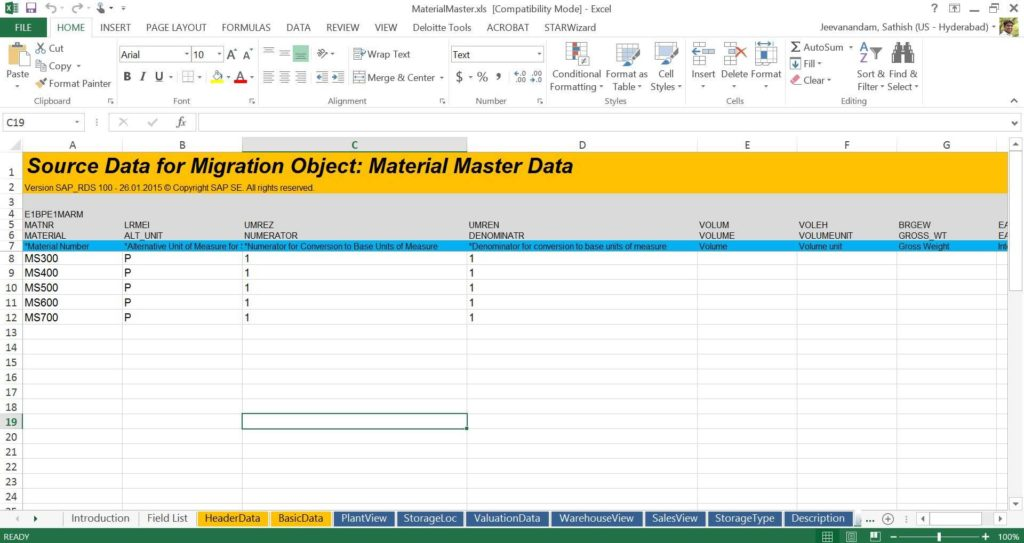 Data Mapping Excel Template and Material Master Migration to S 4hana Using Rds Sap Blogs