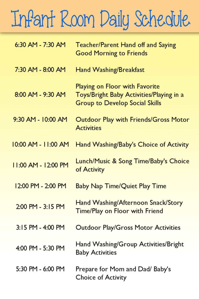 Daycare Infant Daily Report Template and Infant Day Care Schedule Infants Pinterest Infant Infant